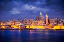 Valletta Skyline At Sunset, Malta