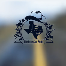 Texas State Map Lettering & Sy...