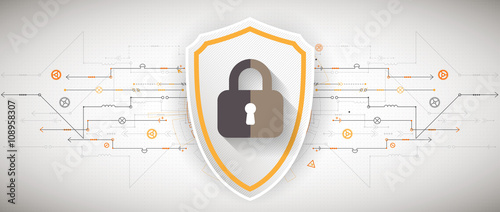 Fotografía  Protection background. Technology security, encode and decrypt.