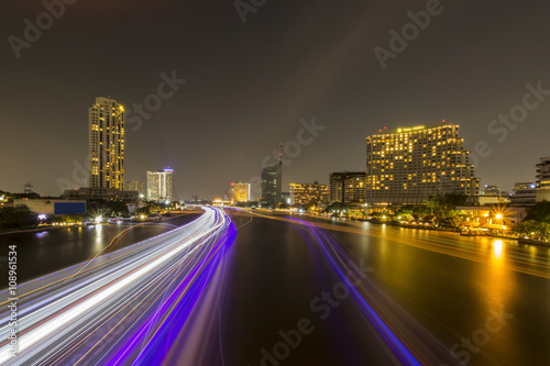 Light effects over time after sunset on the river in a Bangkok c Poster