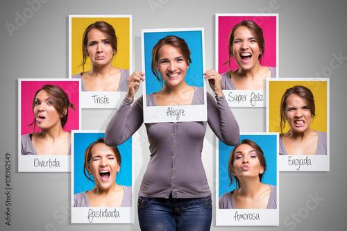 Fotografie, Obraz  Mood changes in a woman