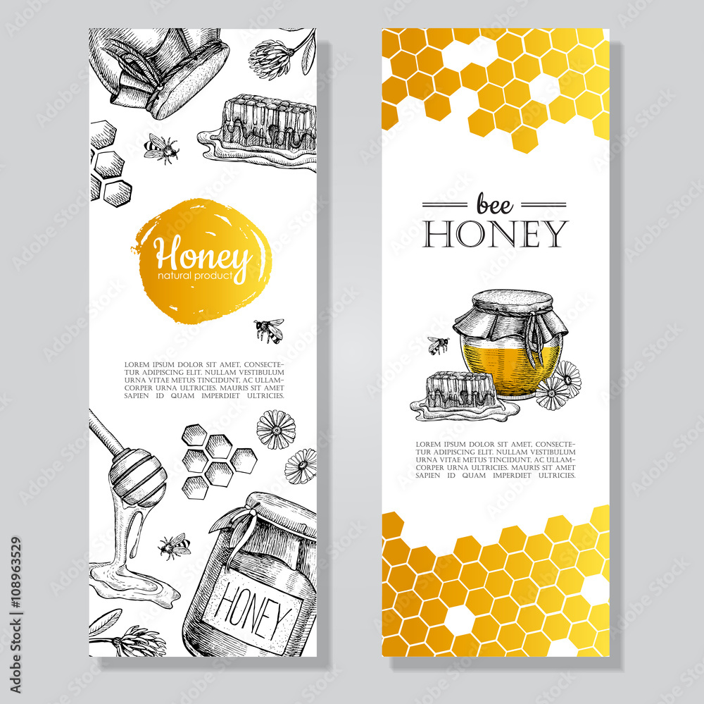 Fototapety, obrazy: Vector hand drawn honey banners. Detailed honey engraved  illustration