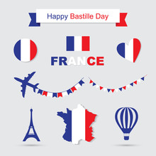 French Flag And Map Icons Set...
