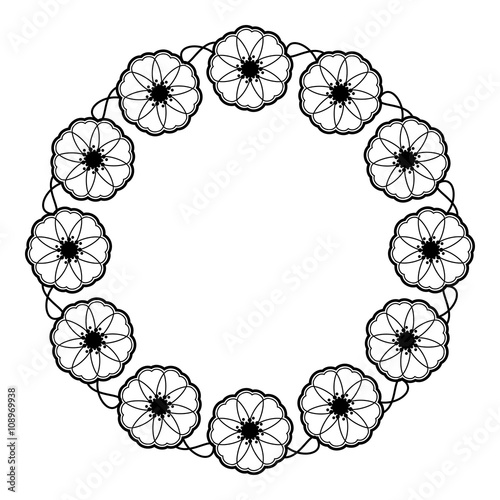 Round Flower Frame Decorative Flowers Arranged On A Shape Of The