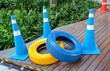 Traffic Cones with Painted Blue and Yellow Tires