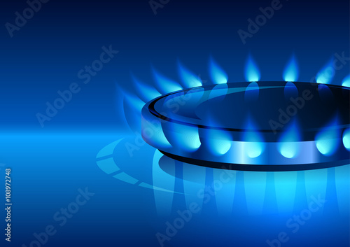Fotografía  Gas flame with blue reflection. Vector background. EPS 10.