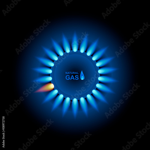 Fotografie, Obraz  Gas flame with blue reflection. Vector background. EPS 10.