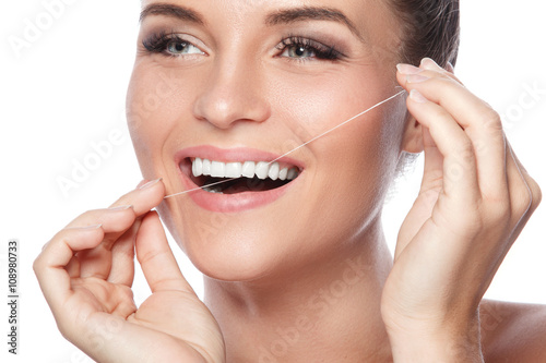 Woman and dental floss Poster