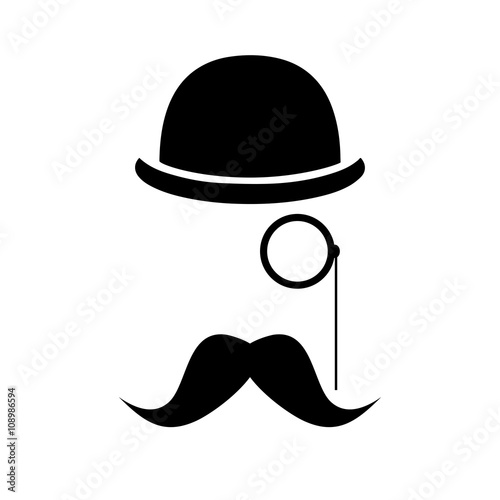 Fototapeta Abstract vector hipster silhouette with bowler hat, monocle, mustache