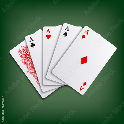 Photo  Aces poker playing cards game template