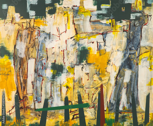 An abstract expressionist painting, suggestive of a rock face and fence.