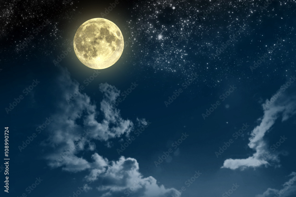 Fototapeta Beautiful magic blue night sky with clouds and fullmoon and stars