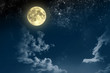 Leinwanddruck Bild - Beautiful magic blue night sky with clouds and fullmoon and stars
