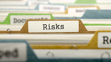 Risks Concept On File Label In Multicolor Card Index. Closeup View. Selective Focus. 3D Render.