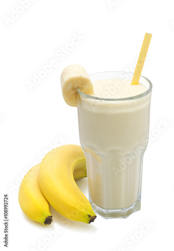 Foto op Aluminium Milkshake banana milk smoothies with banana fruit on a white background