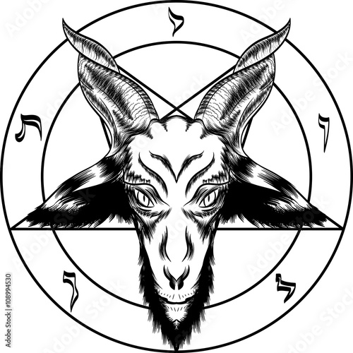 Fotografia Pentagram with Baphomet