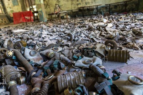 Fotografie, Obraz  Gas masks in Pripyat, Chernobyl