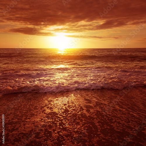 Sunset over the sea.