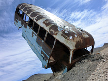 Vintage Old Rusty Bus Sticking...