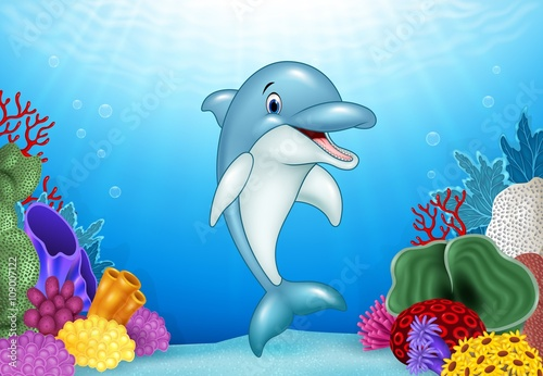 Recess Fitting Submarine Cute Dolphin with beautiful underwater world