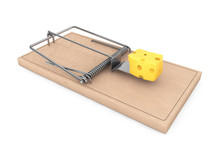 Mouse Trap With A Piece Of Cheese. 3d Rendering