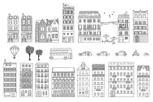 Collection Of Hand Drawn European Style Houses