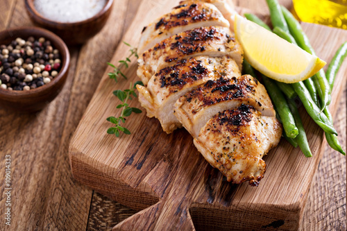 Grilled chicken on a cutting board