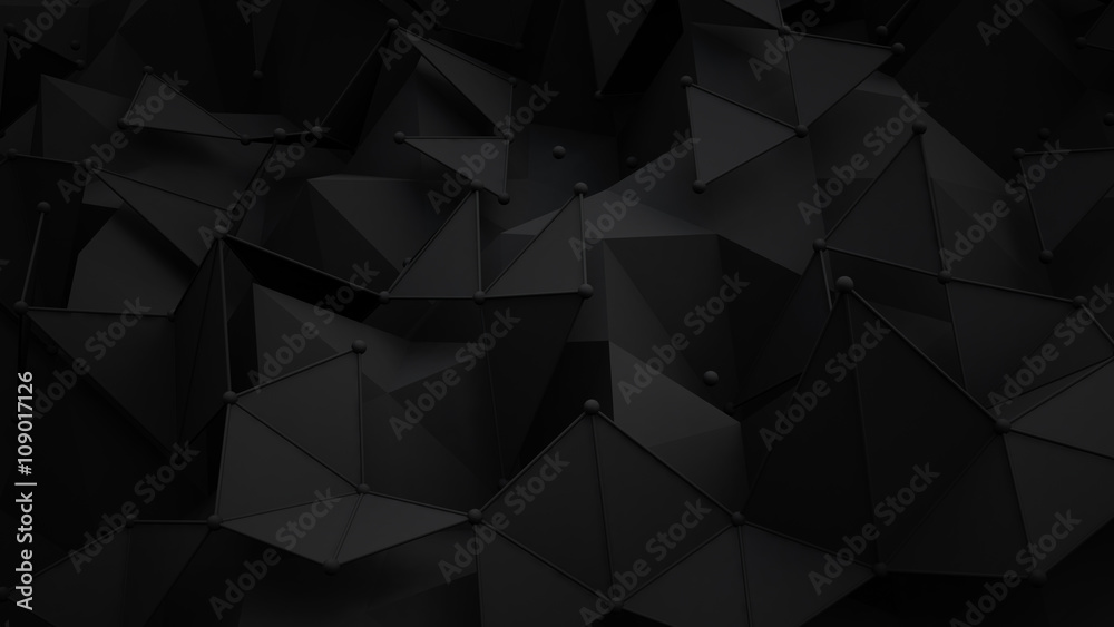 Fototapety, obrazy: Black polygonal surface 3D rendering background
