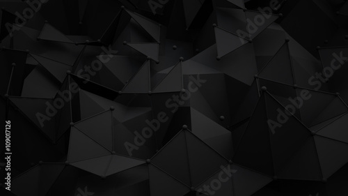 Black polygonal surface 3D rendering background