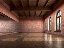 Big Empty Room In Grange Style With Wooden Floor, Bricks Wall, B
