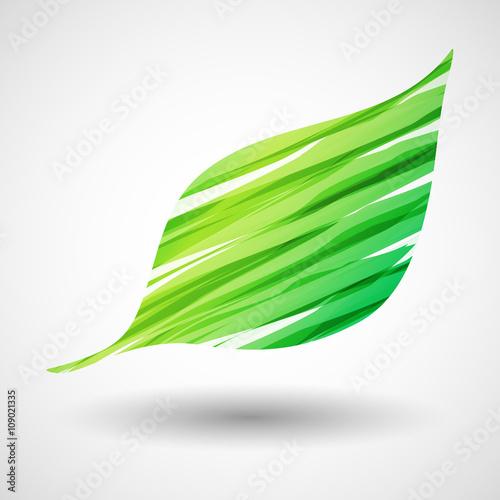 zielony liść ikona wektor - fototapety na wymiar