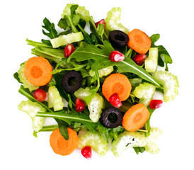 FototapetaArugula, Carrot, Olive and Celery Isolated on White Background.