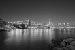 Black and white picture of New York City waterfront.