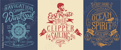Fotografia  Vintage nautical and sailing graphics for t shirt