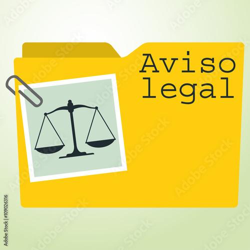 Icono plano carpeta con balanza y texto Aviso legal Canvas Print