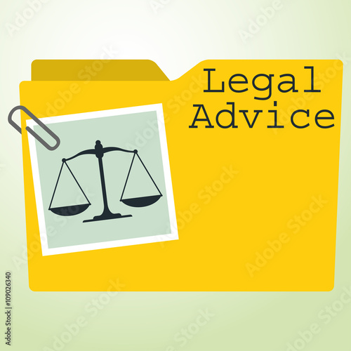 Icono plano carpeta con balanza y texto Legal Advice Wallpaper Mural