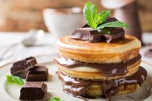 Homemade Pancakes With Chocolate Spread.