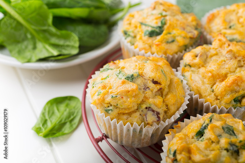 Fotografie, Obraz  Muffins with spinach, sweet potatoes and cheese