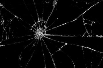 Fototapeta Broken cracked Glass on black