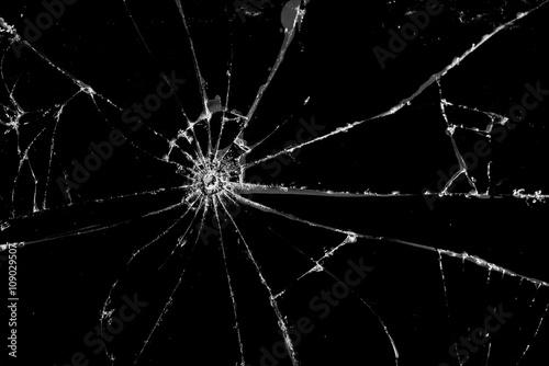 Fotografía Broken cracked Glass on black