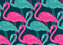 Seamless Pattern With Hand Drawn Flamingo Birds In Doodle Style.