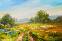 Oil Painting Landscape, Colorful Field Of Flowers, Abstract  Impressionism