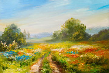 Fototapeta Wiejski oil painting landscape, colorful field of flowers, abstract impressionism