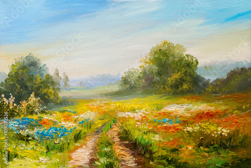 Staande foto Blauwe hemel oil painting landscape, colorful field of flowers, abstract impressionism