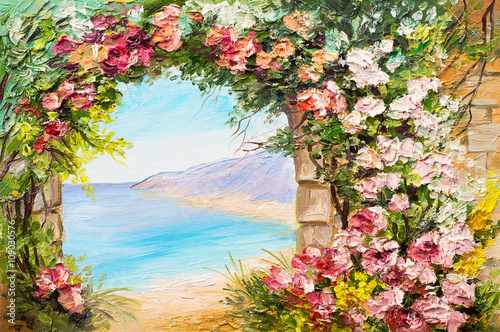 Photo Stands Melon Oil painting landscape - arch near the sea, flowers