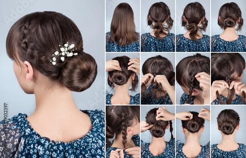 Fototapeta hairstyle bun with braid tutorial obraz