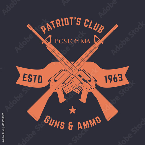 Patriots Club Vintage Logo With Crossed Automatic Guns Gun Shop
