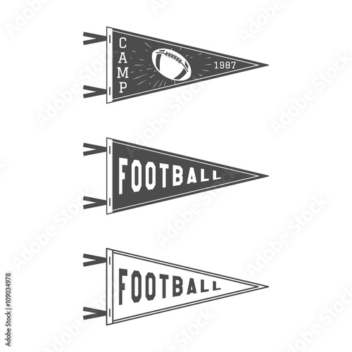College Football Pennant Flags Set Vector Pendant Icons University USA Sport Flag