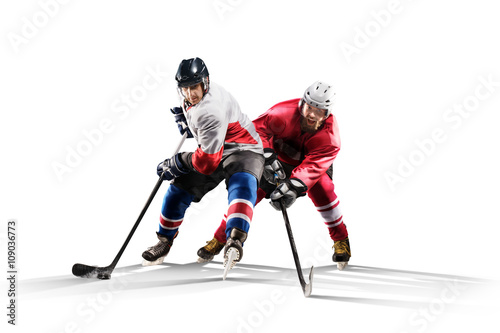 fototapeta na szkło Professional hockey player skating on ice Isolated in white