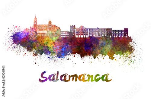 Salamanca skyline in watercolor
